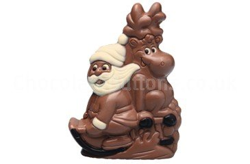 Chocolate Santa & Reindeer on Sledge - 16.5cm High Box of 12